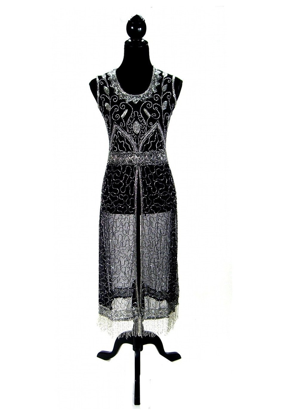 Us vintage panel fringe party dress the titanic silver on