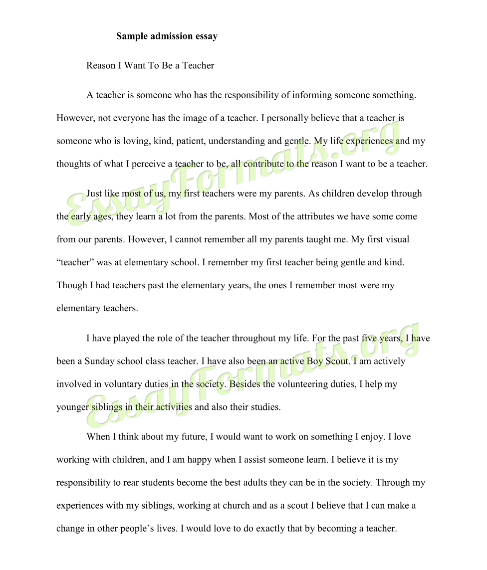 Essay For College Admission  Admission Essay