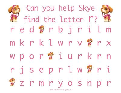 Letter Recognition with the lowercase letter r with Skye from Paw - letter of recognition