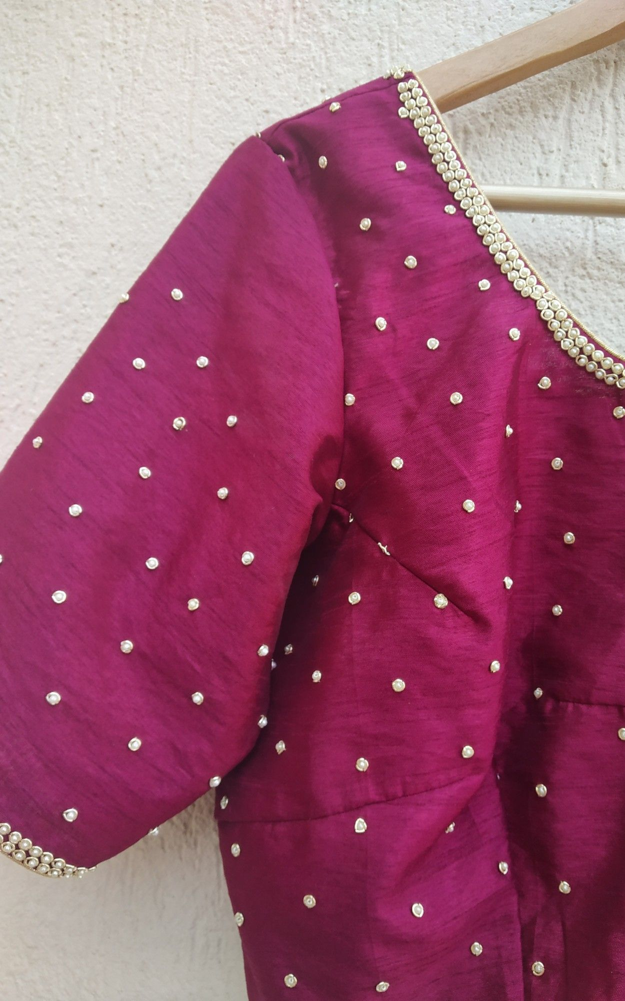 345ab7e8fda4ed Shop now on www.labelkanupriya.com Pearl Work Saree, Saree Blouse Patterns,