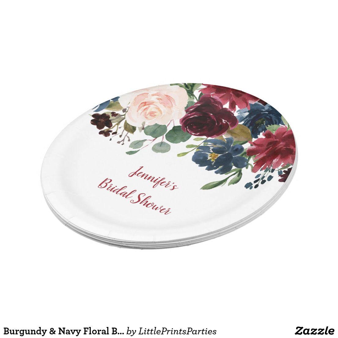 Burgundy navy floral bridal shower paper plate zazzle