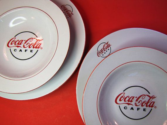 Set of Two Coca-Cola Cafe Plates and Soup Bowls for the kitchen & Set of Two Coca-Cola Cafe Plates and Soup Bowls for the kitchen ...