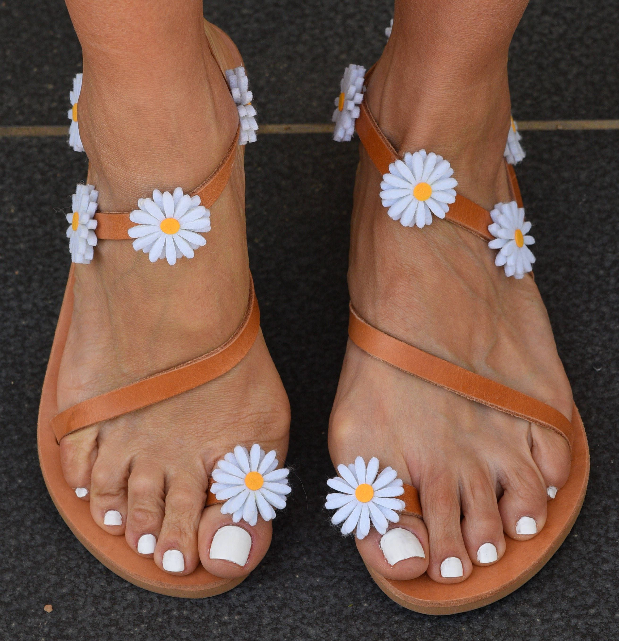 3c8f589e9a24 DAISY TOUCH greek leather sandals straps margarita flowers brown bohemian  handmade hippie by InnaHandmadeSandals on Etsy