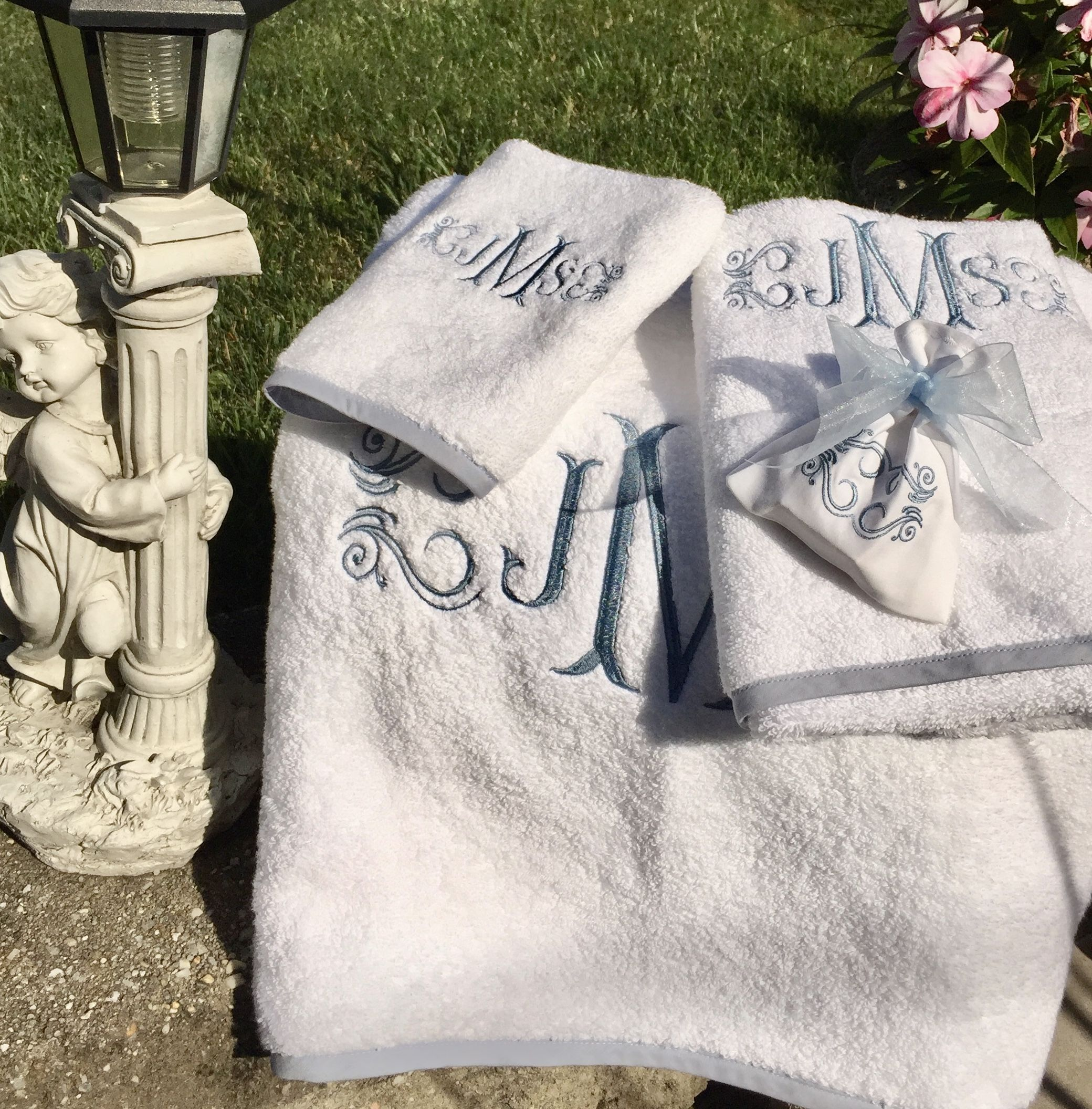 Fishtail Monogram Towel Set Luxurious, soft and absorbent white towel set. monogrammed  towels, monogrammed bath towels, personalized bath towels, ...