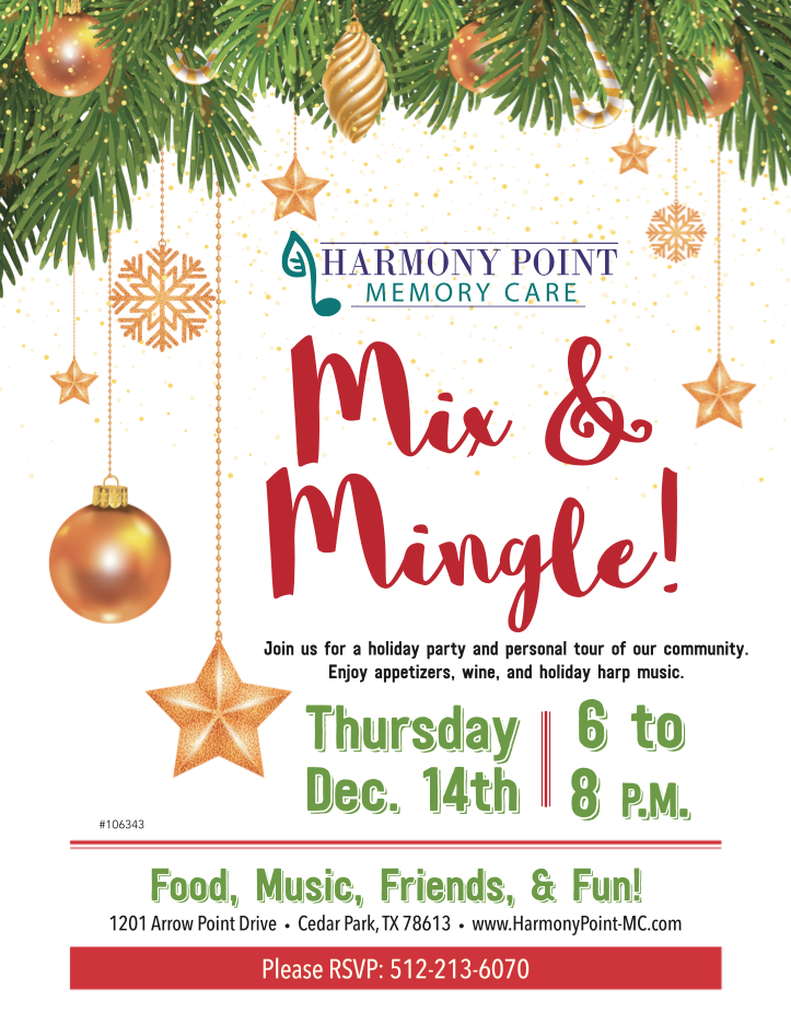 Christmas Mix Mingle Flyer And Event Harmony Point Memory Care Throws The Best Diy Parties Thi Senior Living Marketing Christmas Events Fun Christmas Games