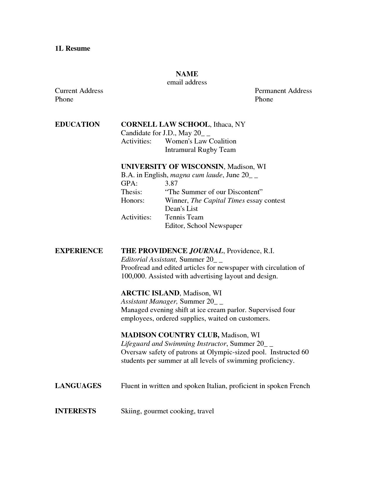 1L Resume By Ghkgkyyt