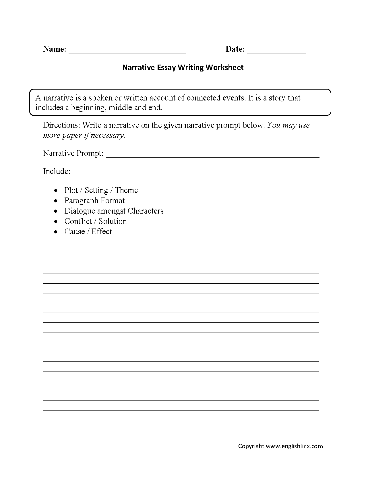 Narrative Essay Writing Worksheets  English Language Arts