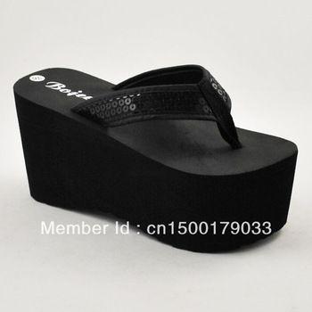 68af5a92c12 Women s super platform flip flops shoes flip sandals sequin herringbone  tape 9cm