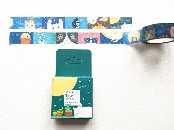 masking tape / washi tape good night cats