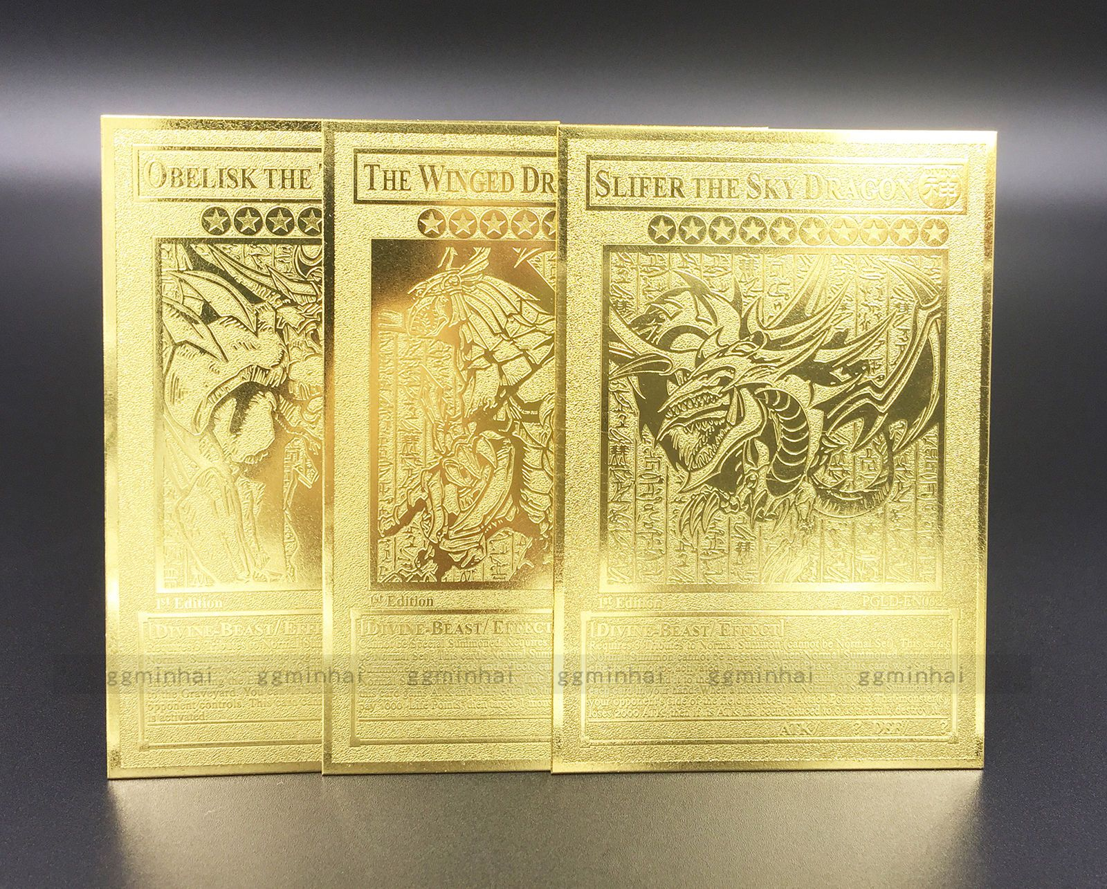 English version yugioh set egyptian god golden metal card