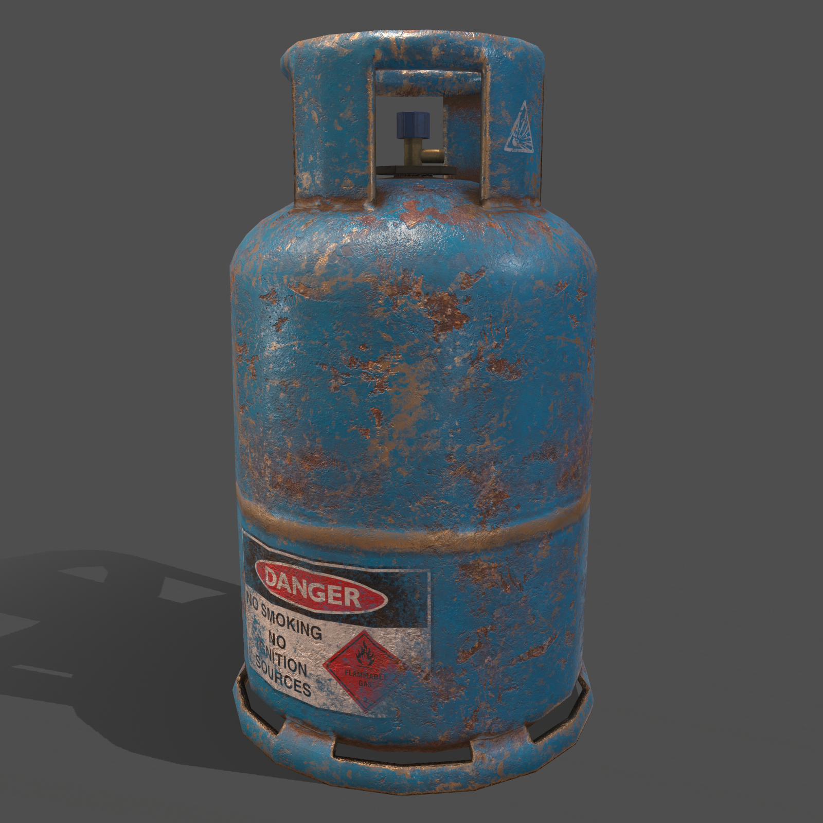 Pbr Cooking Gas Cylinder Blue 3d Model In 2020 Low Poly 3d Models Pbr Gas