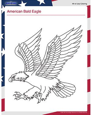 American Bald Eagle View Free July Coloring Page For Kids