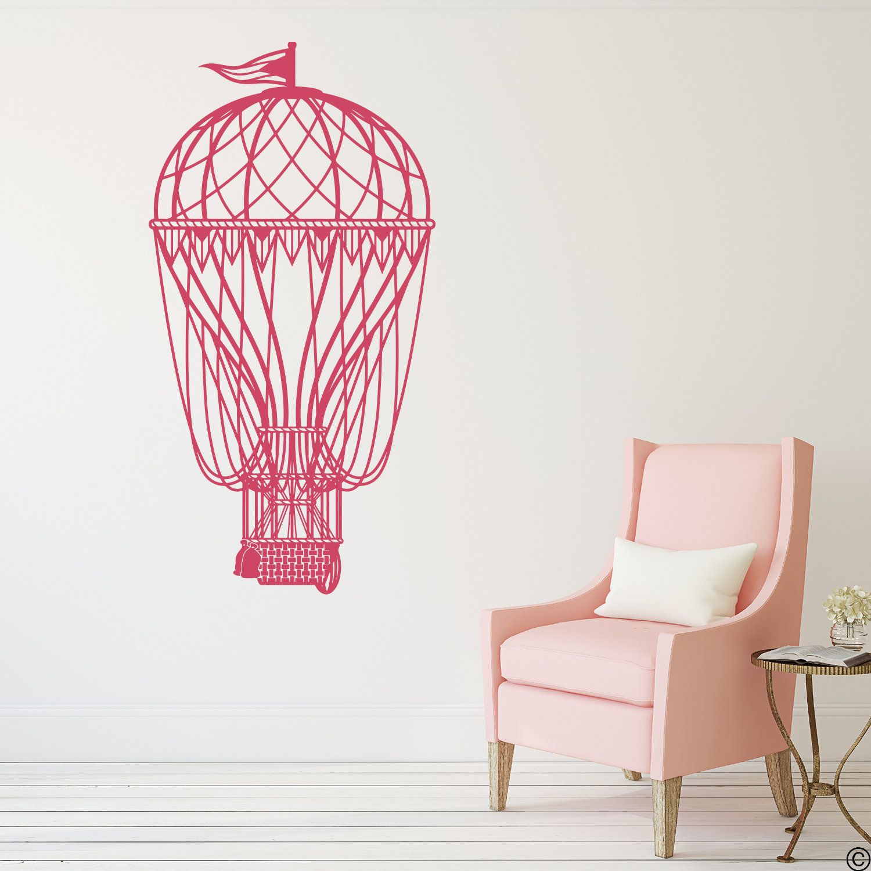 Hot Air Balloon Vinyl Wall Decal fits nursery, bedroom