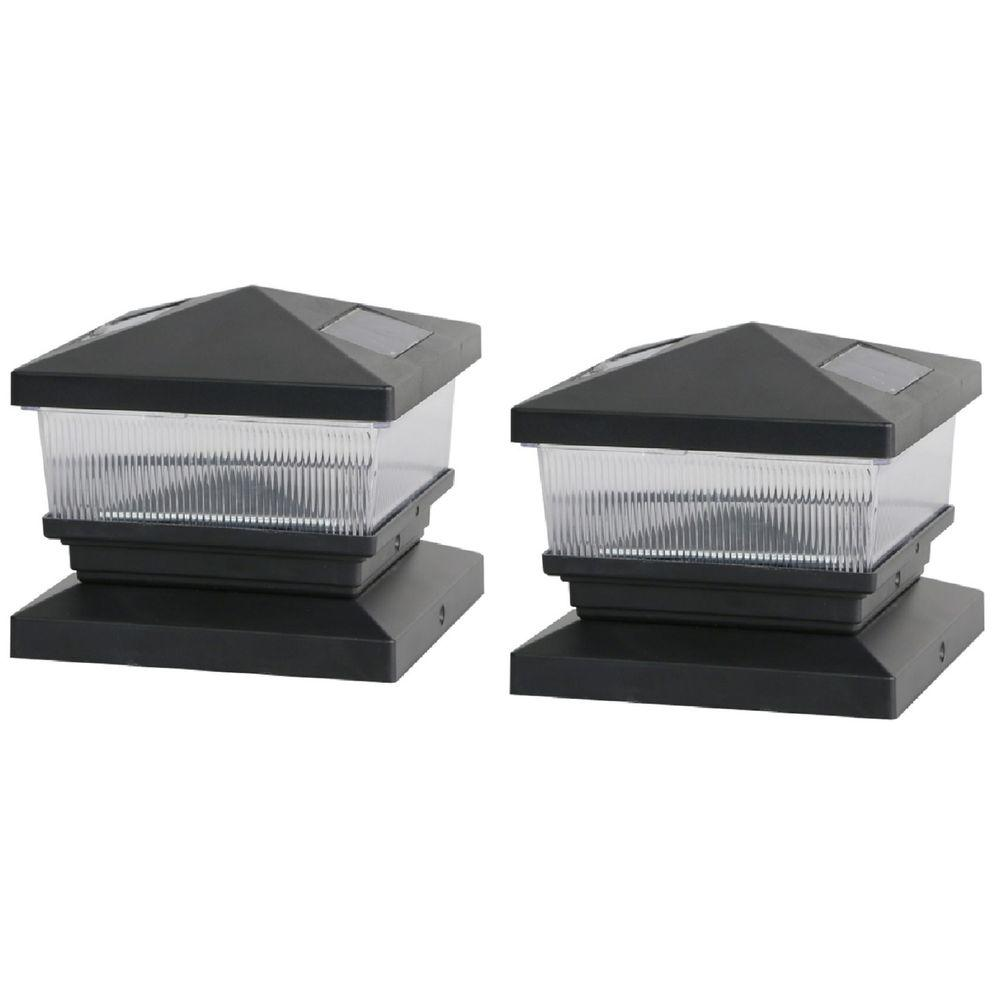 Deck Impressions Solar Black Post Cap With 6 In X 6 In Adapter 2 Pack Deck Post Lights Deck Posts Deck