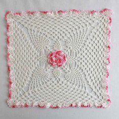 Pineapple & Rose Granny Square Doily Crochet Pattern http://www.maggiescrochet.com/pineapple-rose-granny-square-doily-crochet-pattern-p-2270.html #pineapple #rose #granny #doily