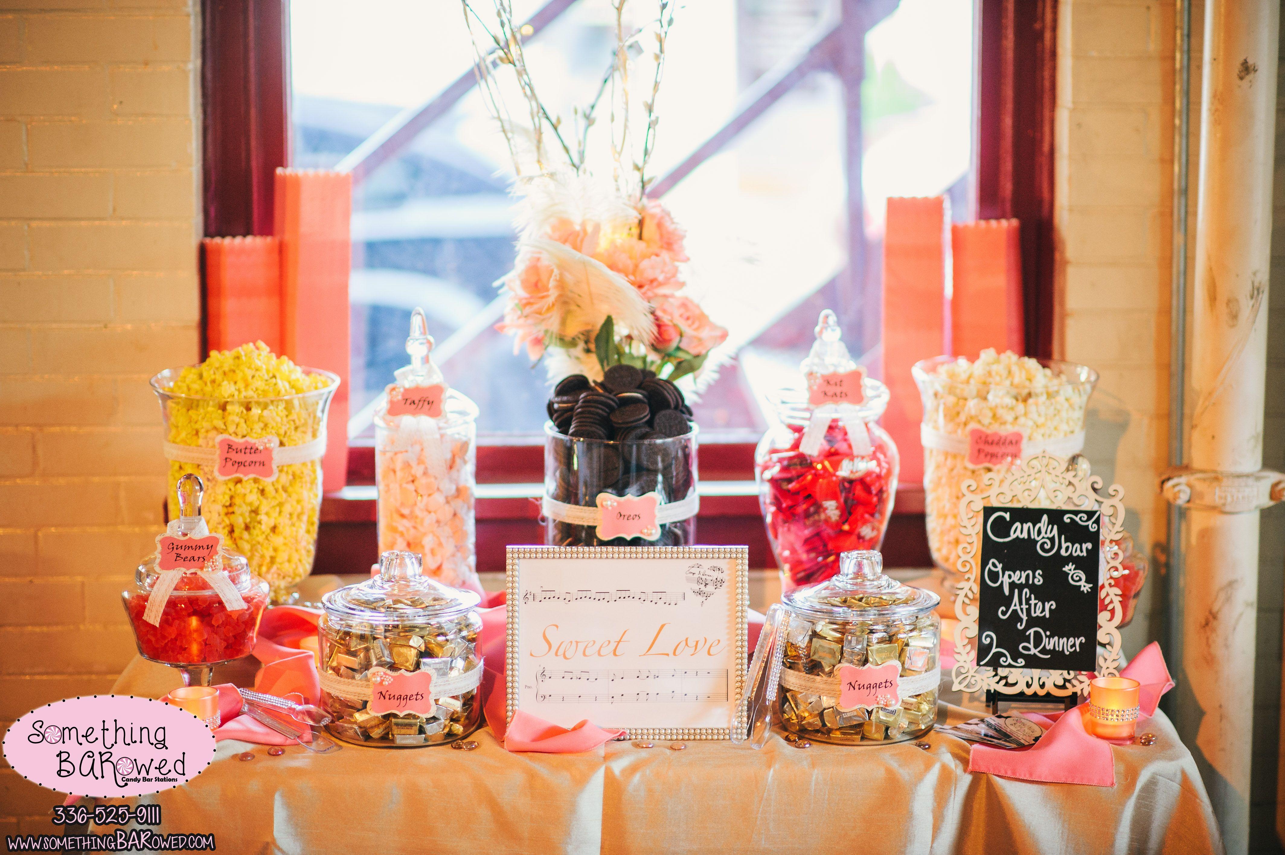 Vintage Coral Blush Chic Burlap Lace Wedding Candy Buffet