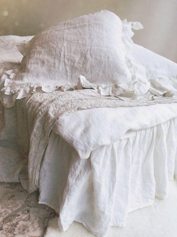 Linen Bed Skirt Dust Ruffle Bedskirt White Linen Dust Etsy
