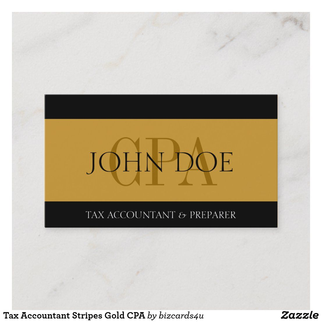 Tax Accountant Stripes Gold Cpa Business Card Zazzle Com Gold Business Card Tax Accountant Tax Preparation