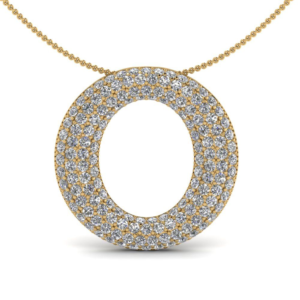 White Diamond Pendant In 18K Yellow Gold | O Contour Pendant | Fascinating Diamonds