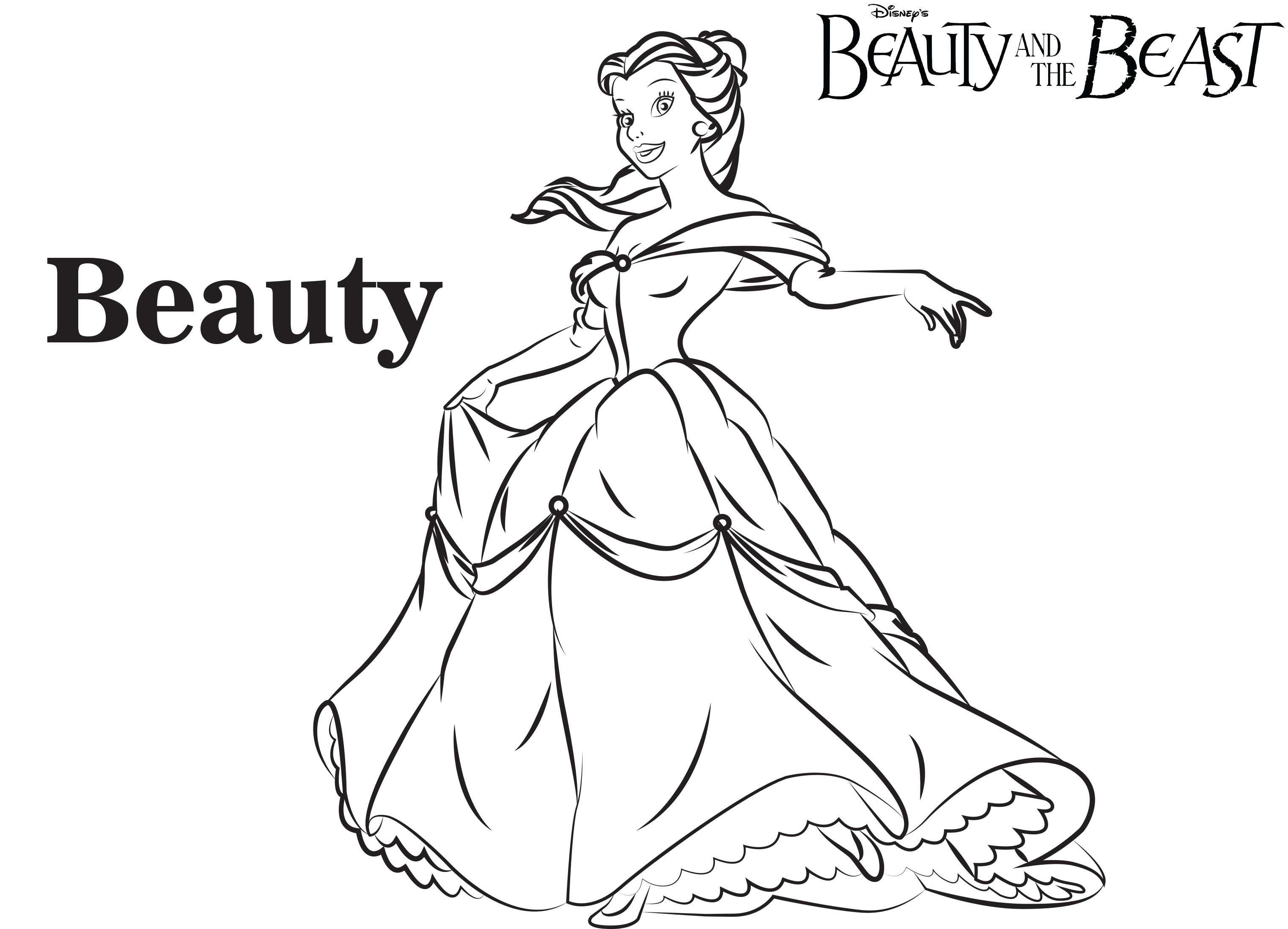 Disney's Beauty and the Beast Coloring Pages Sheet, Free