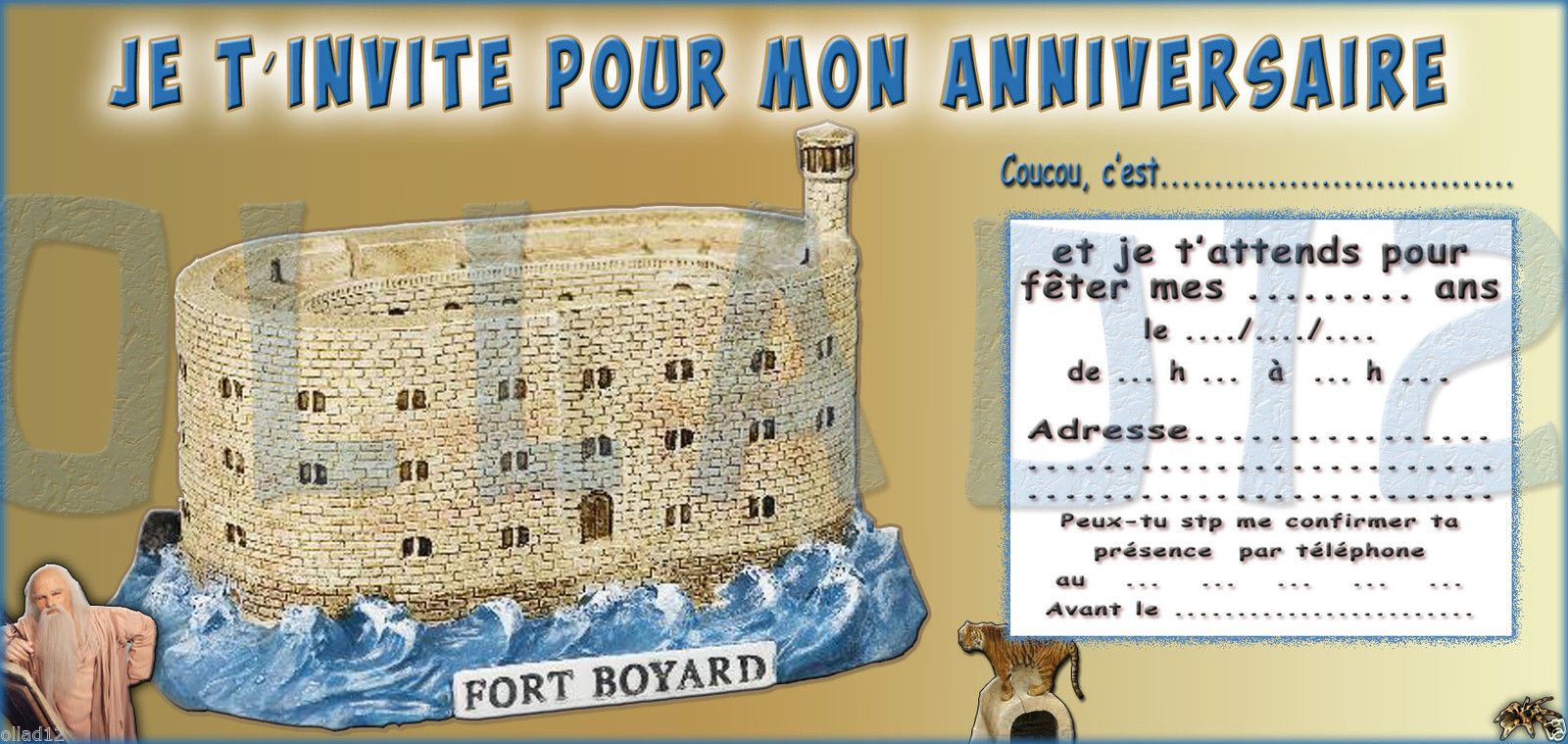 6 cartes invitation anniversaire fort boyard papier 250. Black Bedroom Furniture Sets. Home Design Ideas