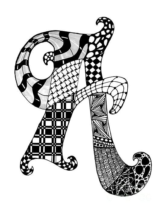 Zentangle Letter A Monogram In Black And White by Nan