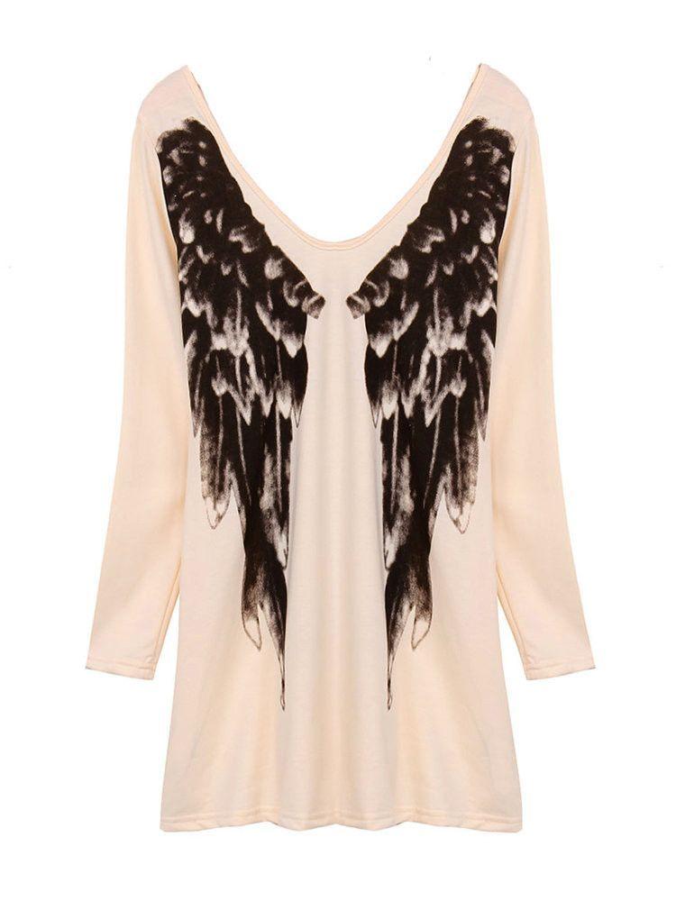 4e4a95e044a2e Plus Size Sexy V Neck Angel Wings Printed Women T-shirt