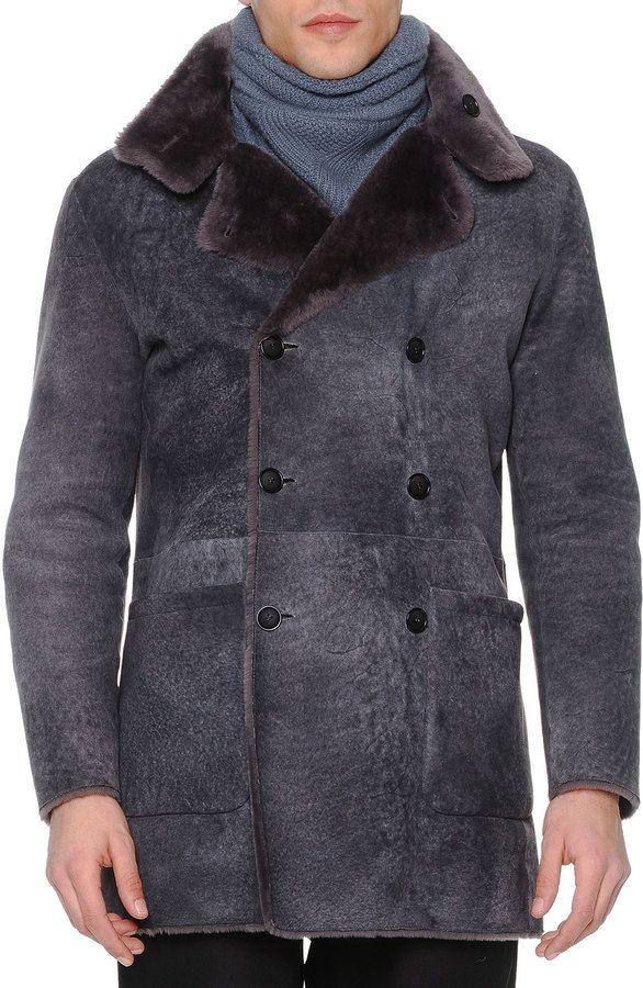 b069fc22 Giorgio Armani Vintage-Effect Shearling Fur Coat, Gray | Make the ...