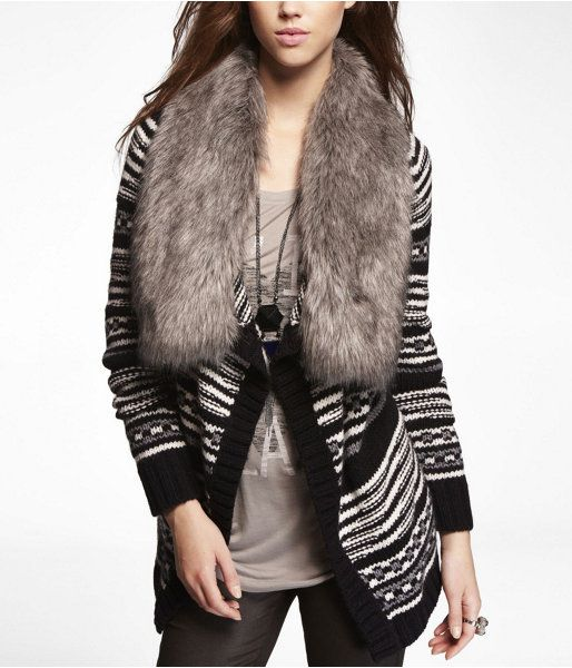 Express Womens Faux Fur Collar Metallic Fair Isle Sweater Coat ...