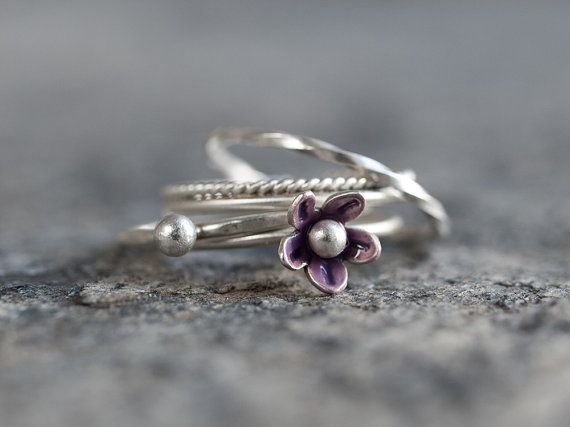 cd4566283 Flower ring, Stacking ring set of 4, Sterling silver and purple enamel  dainty nature inspired ring set