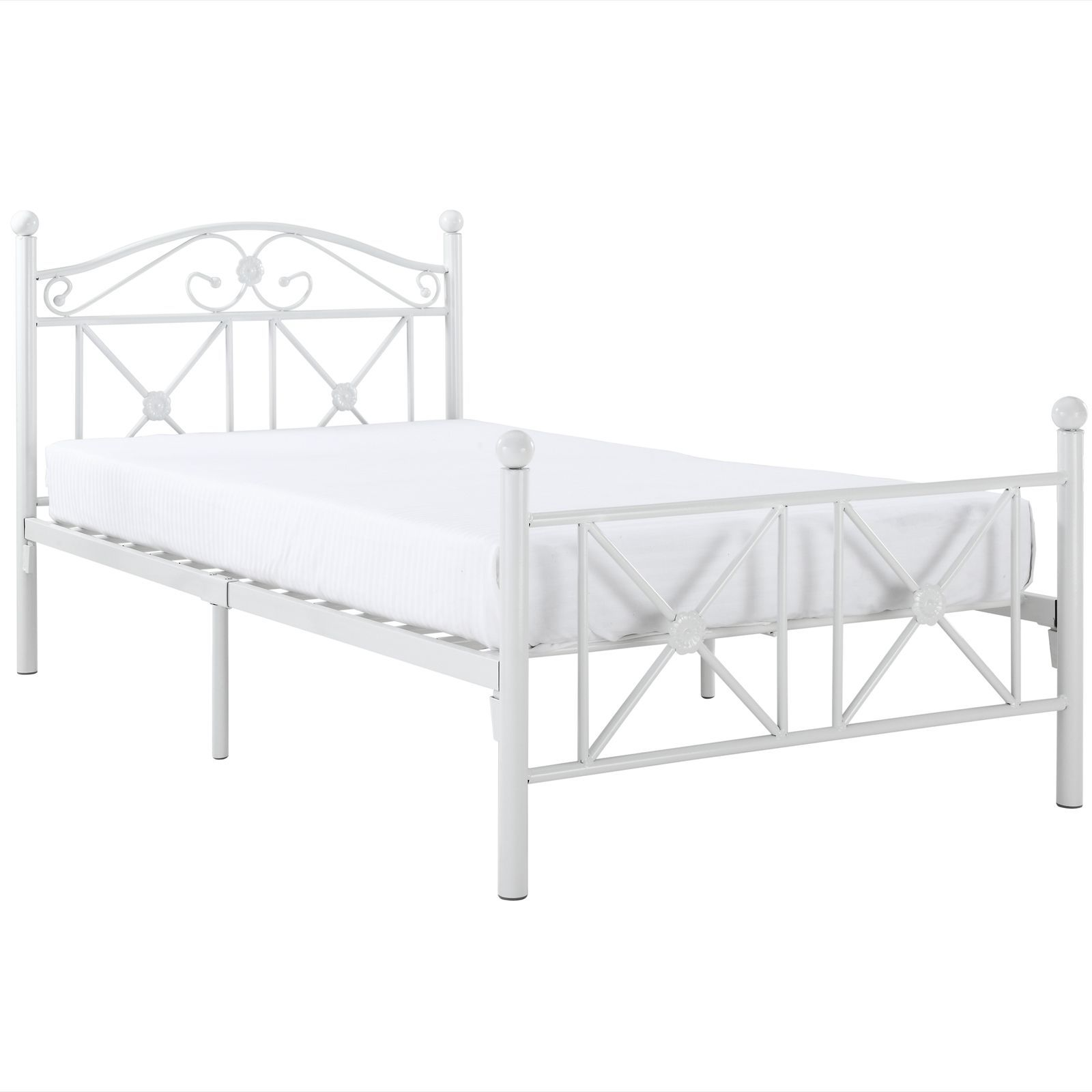 Modway Country Cottage Iron Twin Bed Frame, White