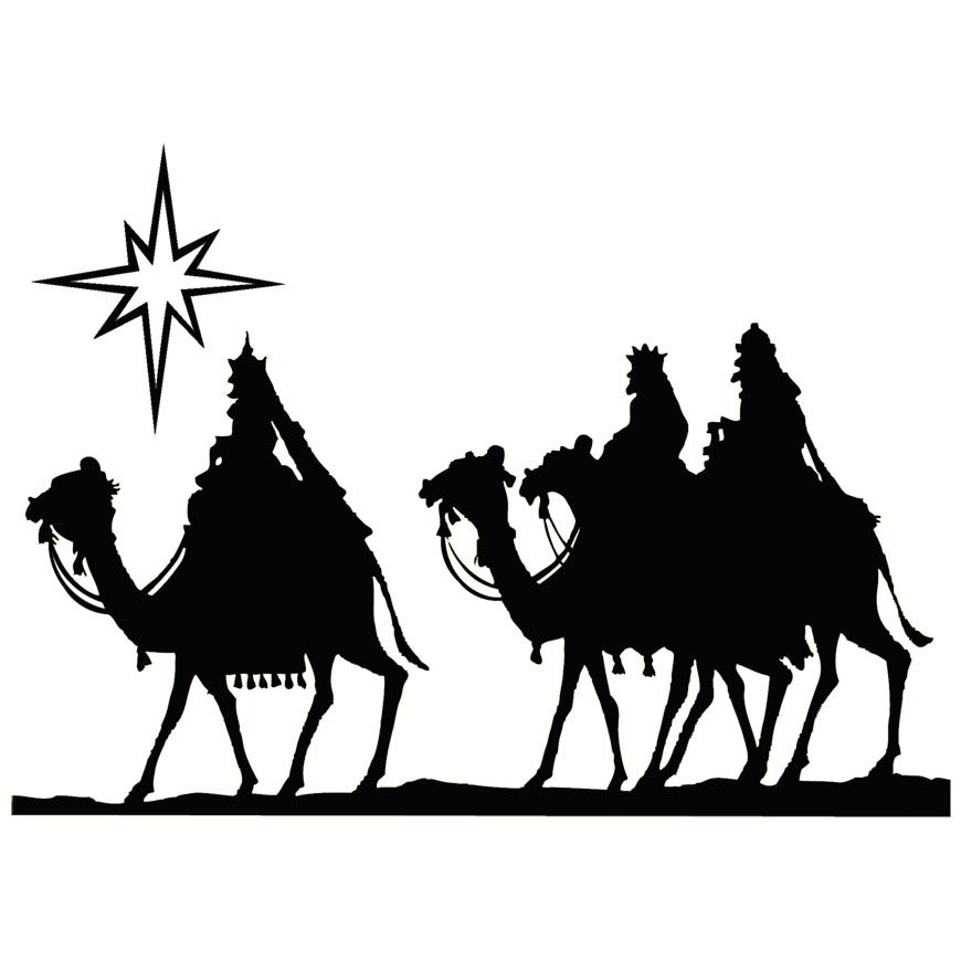 Vintage wisemen art on camels christmas