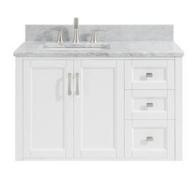 Allen Roth Floating 36 In White Single Sink Bathroom Vanity With Natural Carrara Mar Single Sink Bathroom Vanity Bathroom Sink Vanity 42 Inch Bathroom Vanity