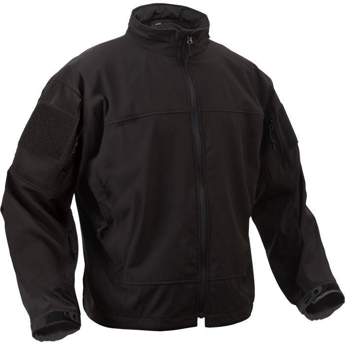Black - Tactical Lightweight Covert Operations Soft Shell Jacket ...