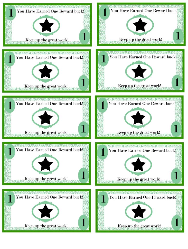 Free Printable Reward Bucks For Kids Money Theme Im