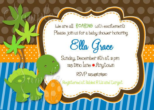 shabby chic dinosaur baby shower invitation - diy printable jpeg, Birthday invitations