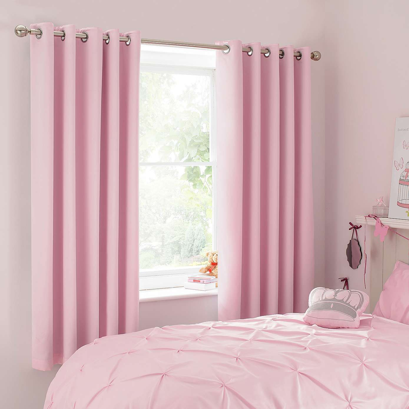 Mia Pink Blackout Eyelet Curtains | Pink bedroom curtains ...