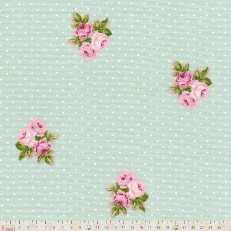 Fryett's Fabrics - Bouquet Mint - cotton fabric