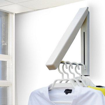 Wall Mount Clothes Hanger Laundry Drying Rack Folding Storage