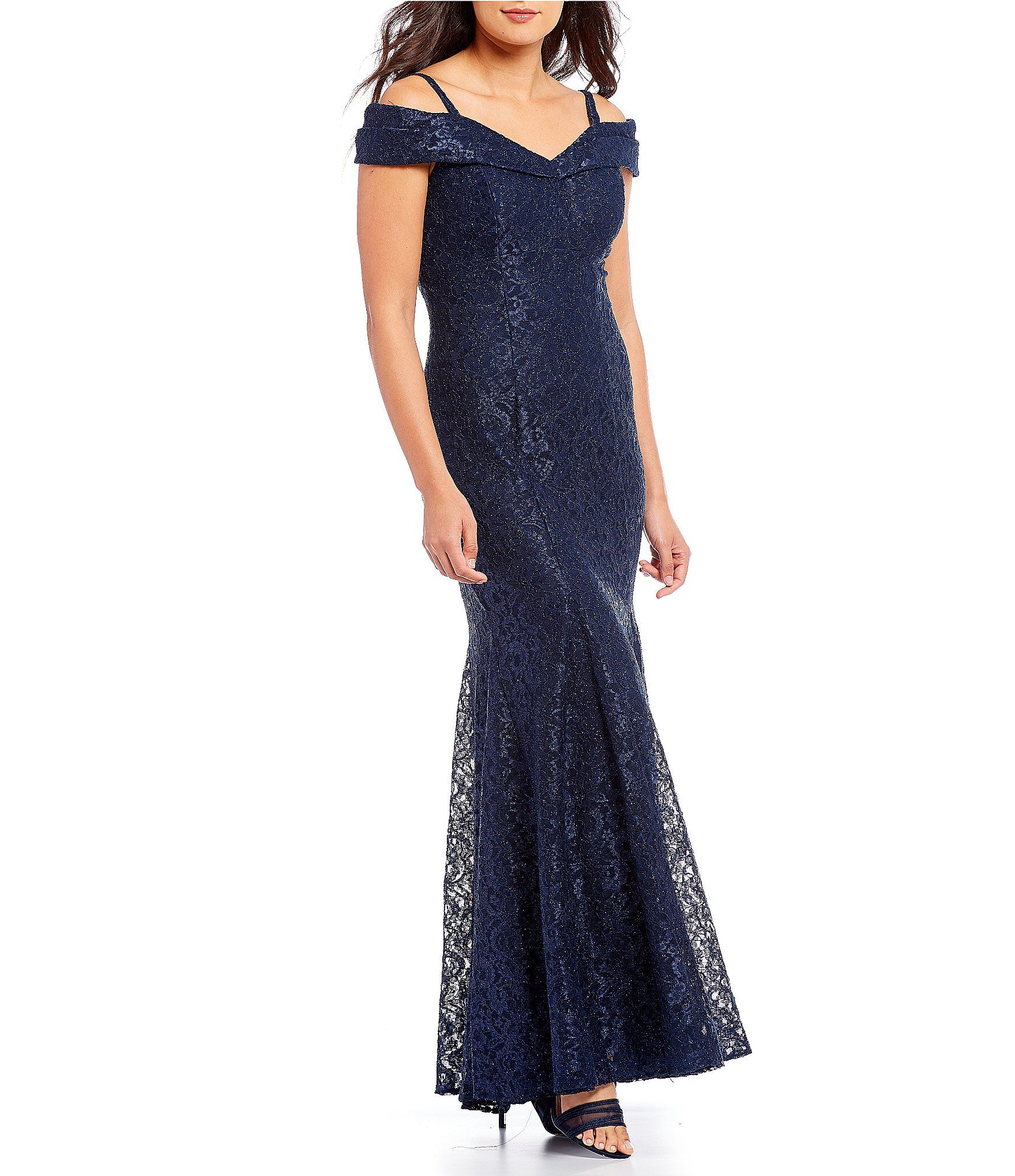 R & M Richards Off-the-Shoulder Sweetheart Lace Gown | Dillards ...