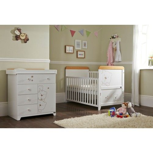 The 3 Bears furniture range is made out of solid wood and has 3 playful bears etched into the wood. A fairytale come true. This Tutti Bambini 3 Bears Furniture Range comes with Cot Bed and Chest. http://goo.gl/VHg7aB