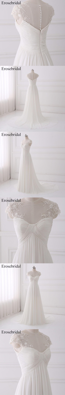 Simple Bohemian Wedding Dresses Erosebridal 2018 Wedding Dress Chiffon Bridal  Gown Elegant Zipper Back Vestido De 9111fcec94bd