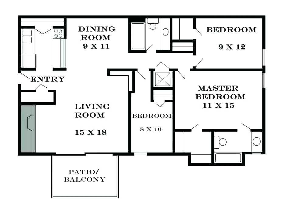 Standard Dining Room Size Square Feet Two Bedroom Floor Plan Simple Ranch House Plans Bedroom Floor Plans