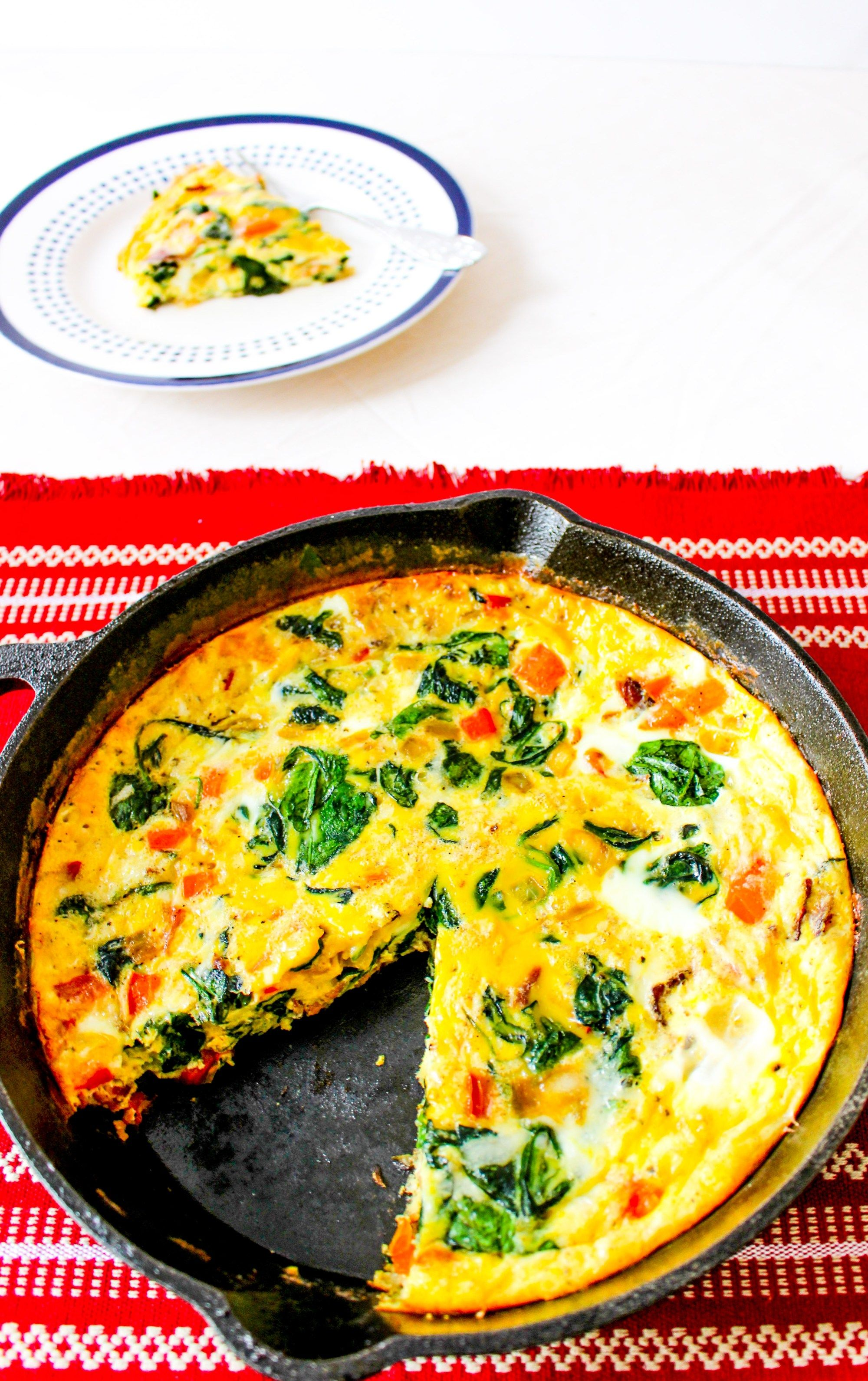 Cheesy Frittata with Bacon, Peppers, Spinach, and Onion #baconfrittata