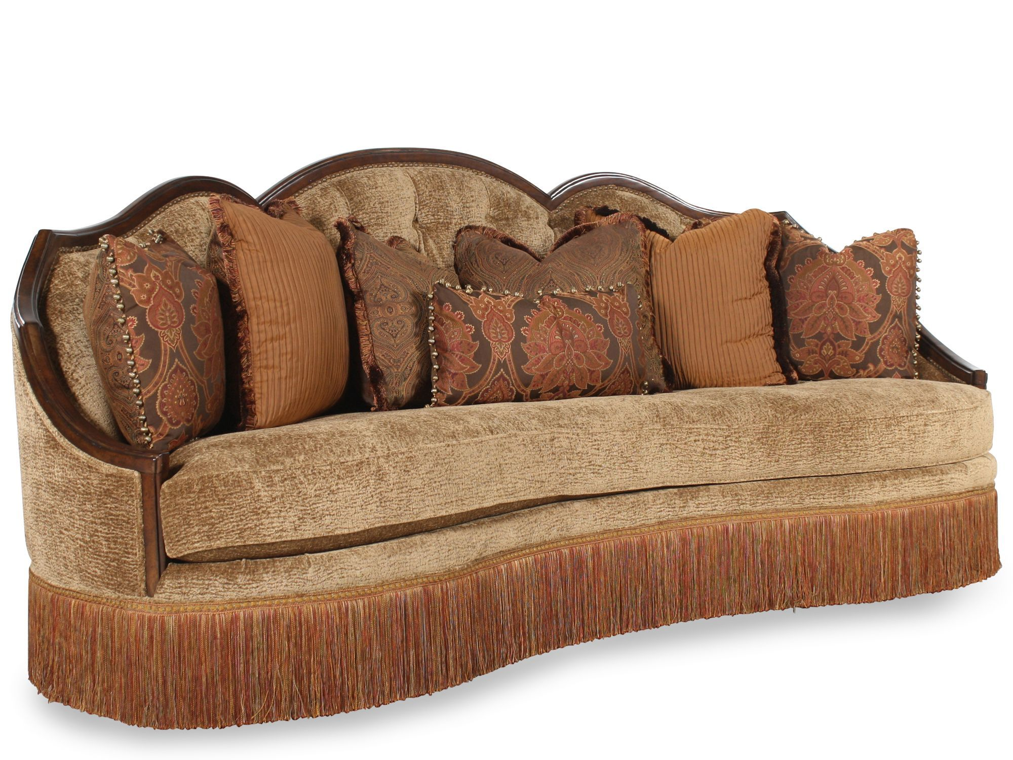 Traditional Living Room Furniture Traditional Living Room Fabric And Wood Trim Curved Sofa Rachlin