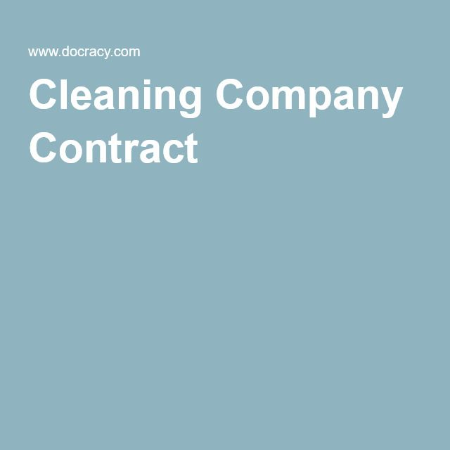 Cleaning Company Contract Good to know Pinterest Cleaning - cleaning service contract