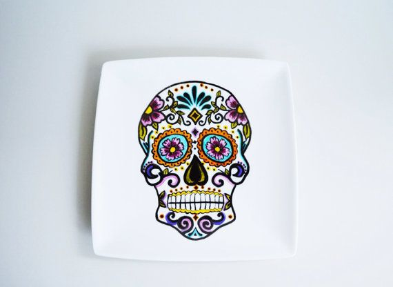Hand Decorated white square plate  Mexican sugar by perchdecor, $36.00