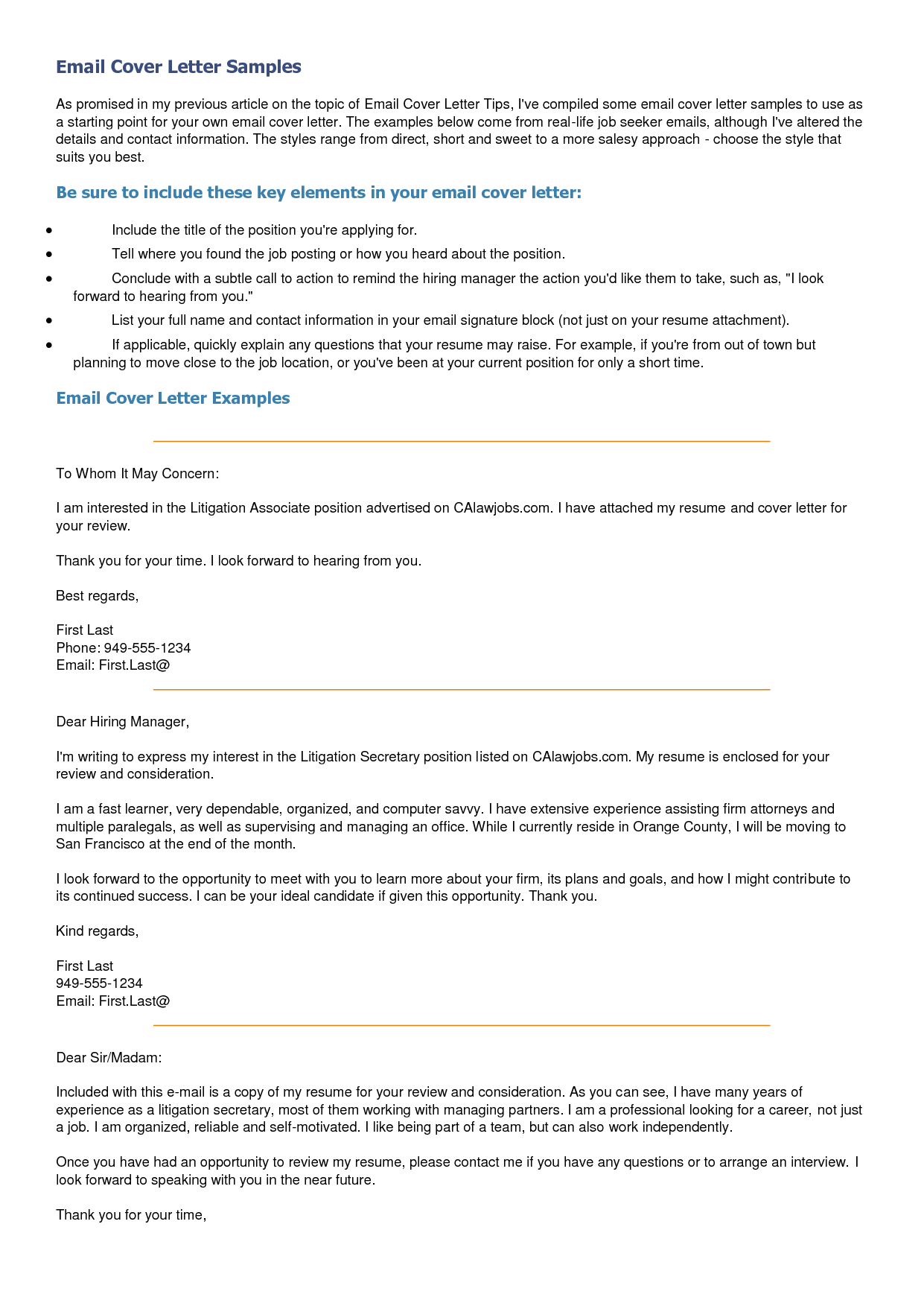 Email Cover Letter Sample Samplesg Business Via Certified Mail Resume  Sample Email Cover Letters