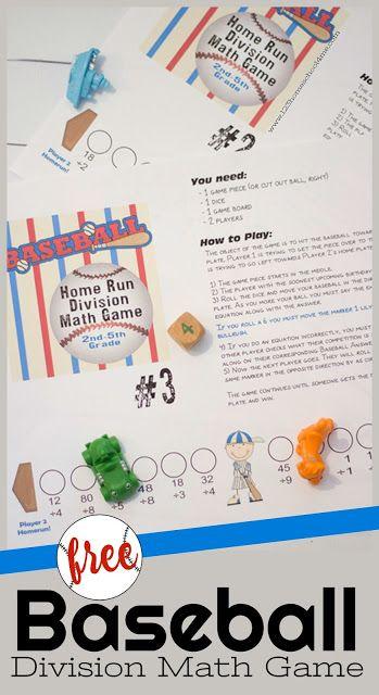 FREE Baseball Division Math Game | Division math games, Printable ...
