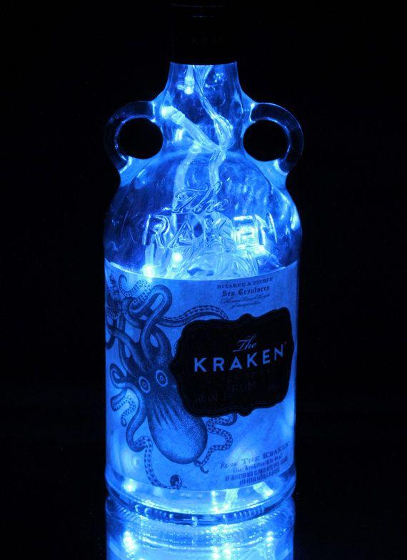 Desk Accent Light Man Cave Lighting Home Bar Pub Lounge Decor The Kraken Black Spiced Rum Liquor Bottle TABLE LAMP with Wood Base